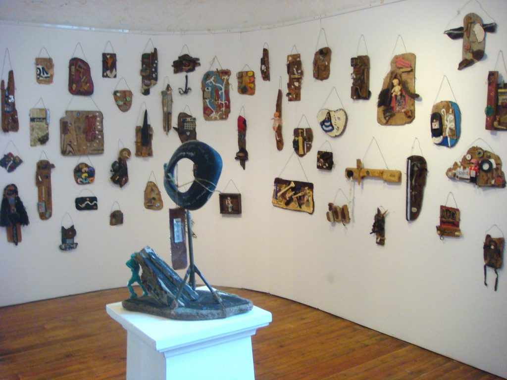 exhibition at Helston museum 2011 with over 100 small domestic object assemblage works