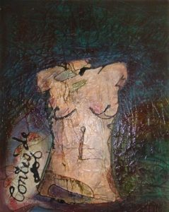 painting of torso of naked woman
