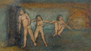 abstracted painting of 3 joined naked women
