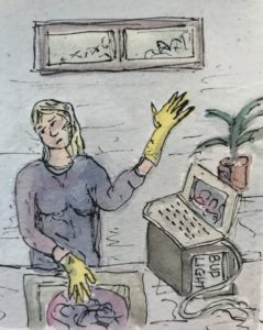 watercolour of woman washing up and working on her computer