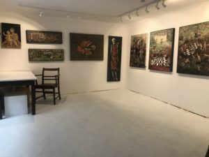 image of studio with paintings