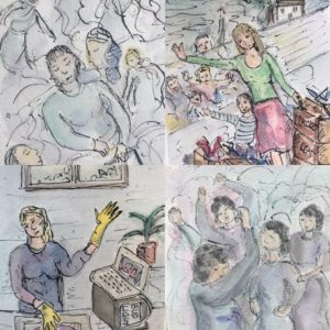 four small watercolour and ink drawings of people's experiences during lockdown