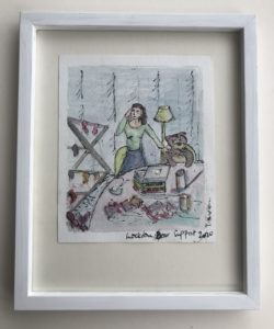 framed watercolour painting of a woman at home during lockdown mutli-tasking with work and washing with a soft toy companion