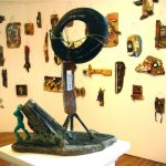 installation of small sculptures made from found objects