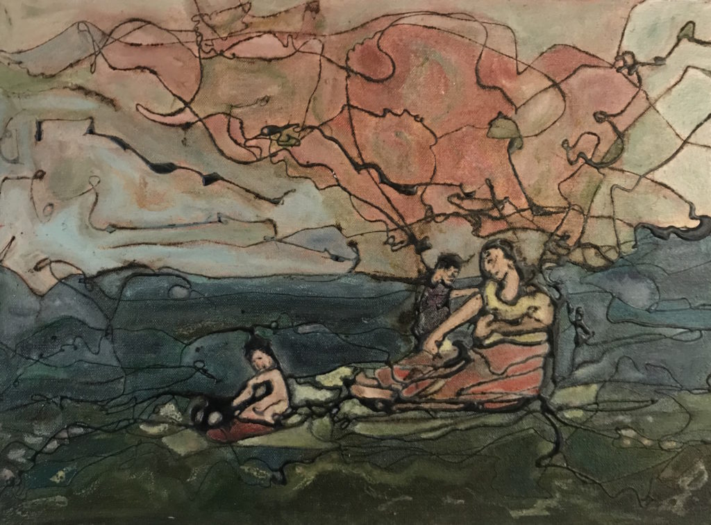 painting of mother and chlldren in pink and blue landscape