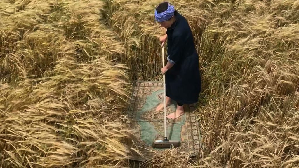 woman sweeping a rug in the middle of a barley field