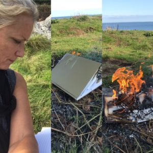 three images together of readng, a diary and burning the diary