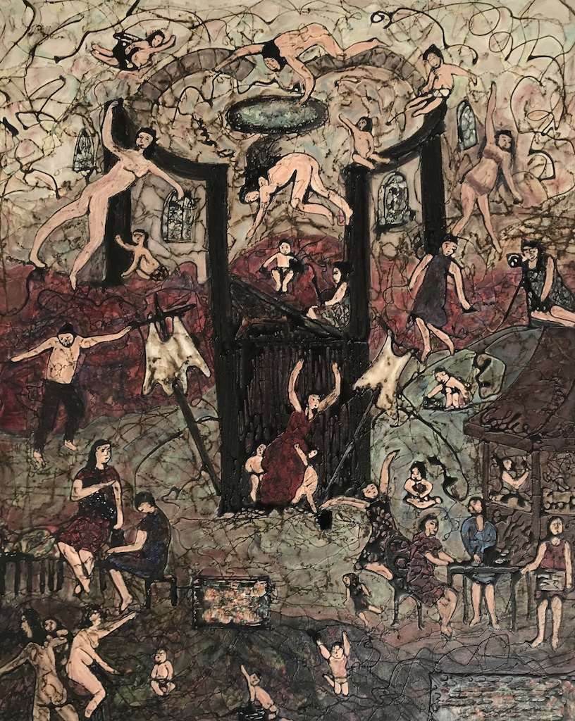 large dark detailed historicaleque painting with women and children